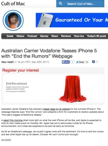 Cult of Mac iPhone Rumours - Tim Tayyar, freelance copywriter