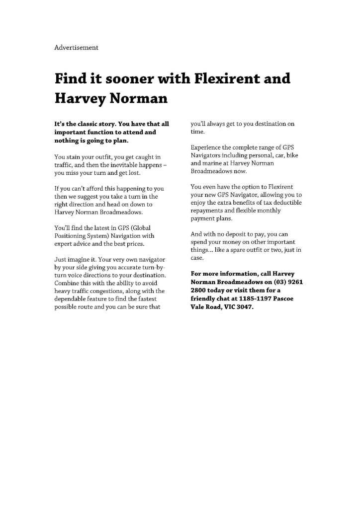 Harvey Norman GPS Advertorial - Tim Tayyar, freelance copywriter